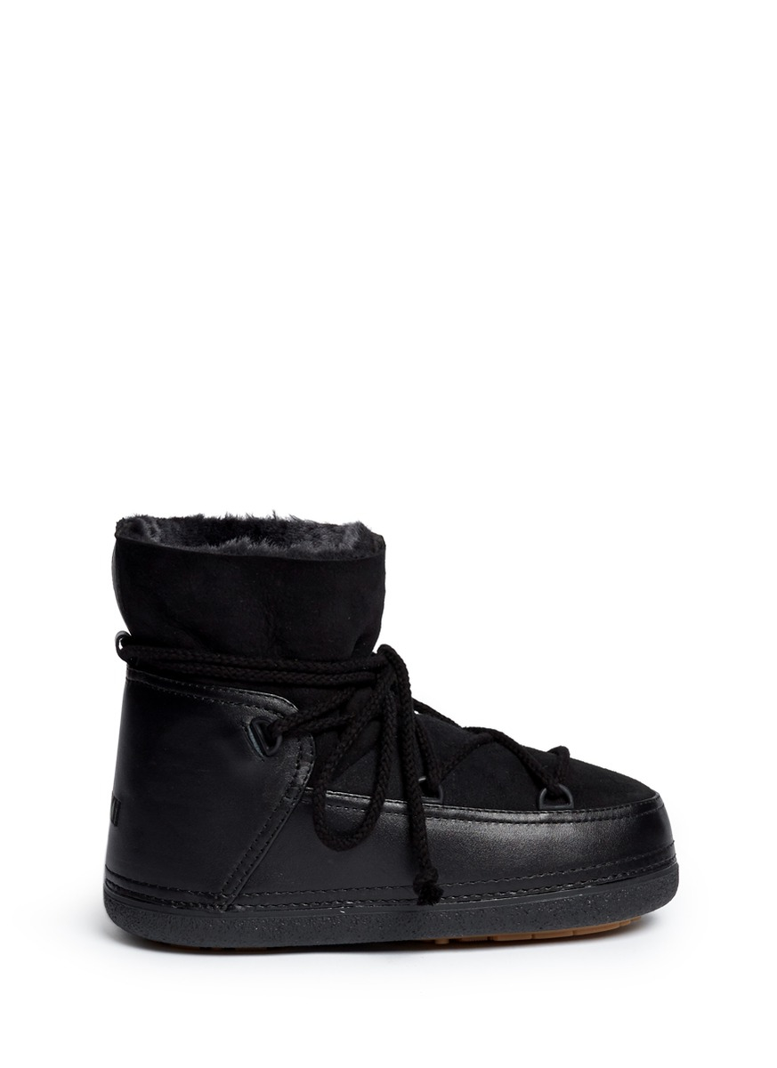 Lyst Ikkii Classic Suede And Shearling Moon Boots In Black