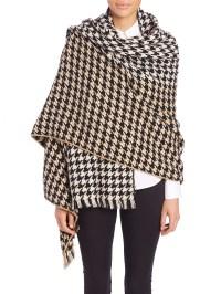 Lyst - Yarnz Houndstooth Cashmere & Wool Blanket Scarf in ...