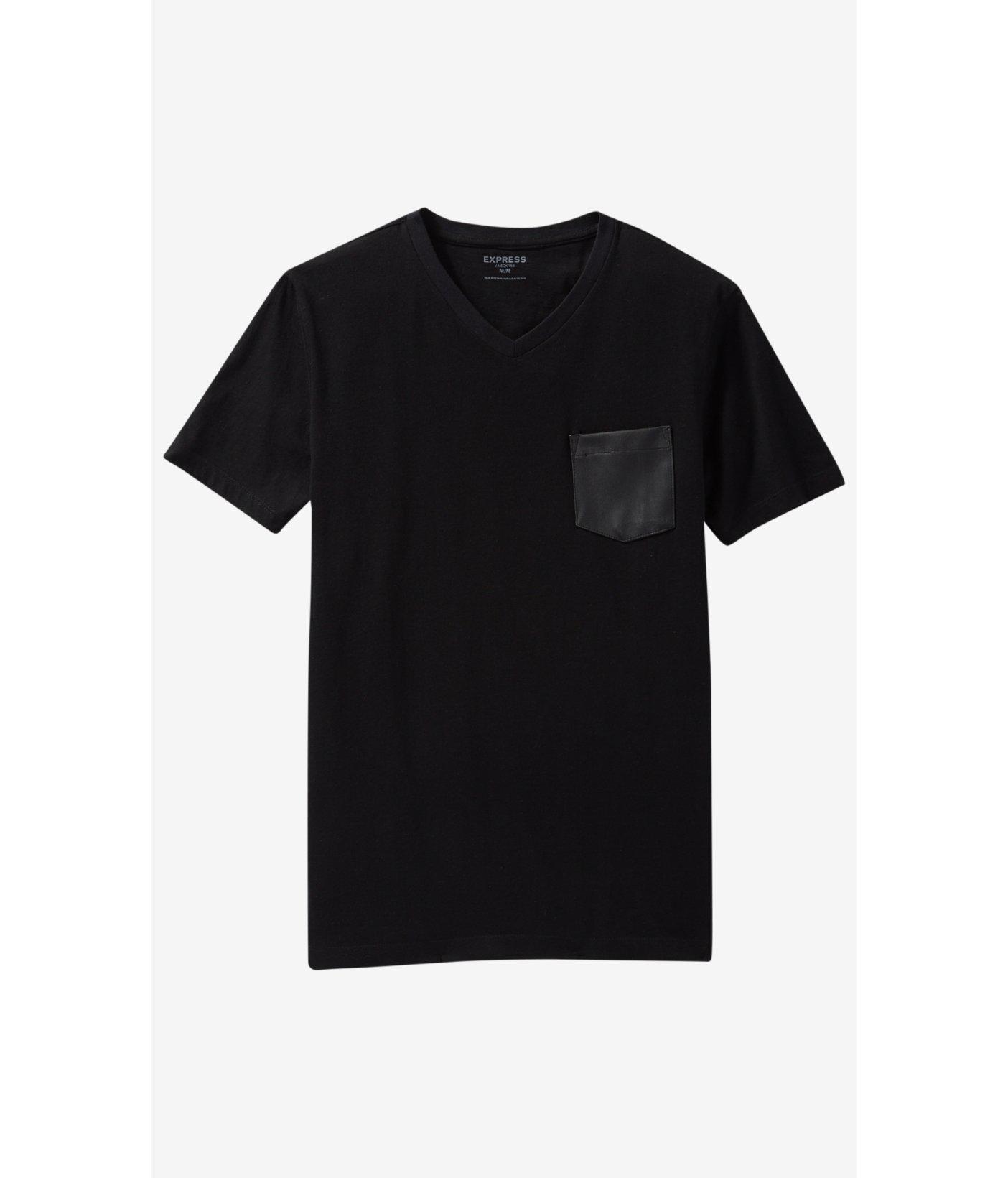White t shirt express - Black T Shirt Express Express Black V Neck Minus The Leather Pocket T Shirt In