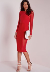 Missguided Long Sleeve Mesh Midi Dress Red in Red - Lyst