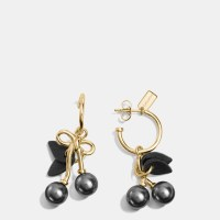 Coach Pearl Kisslock Cherry Hoop Earrings in Metallic ...