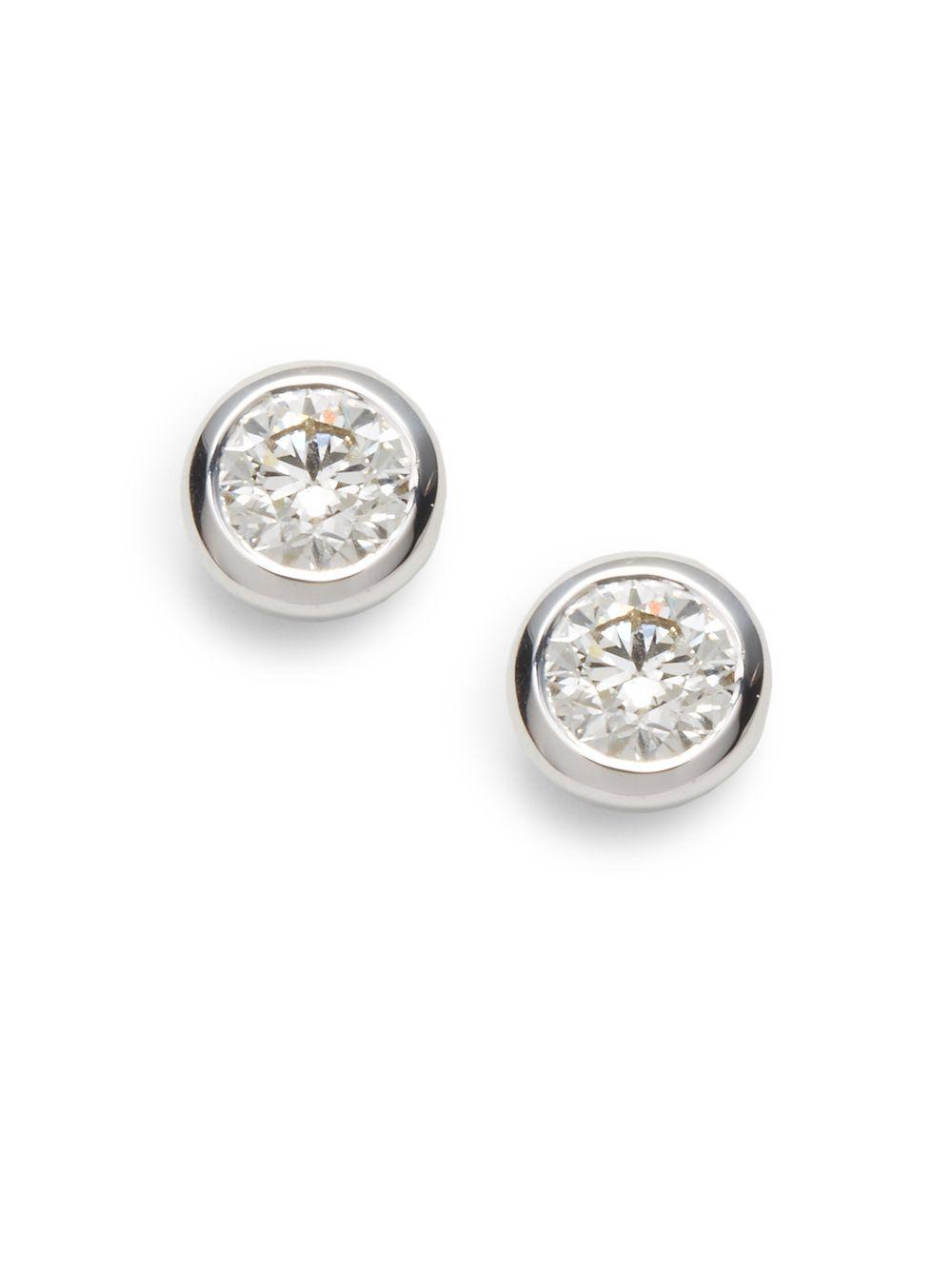 Roberto Coin 1.2 Tcw Diamond & 18K White Gold Stud