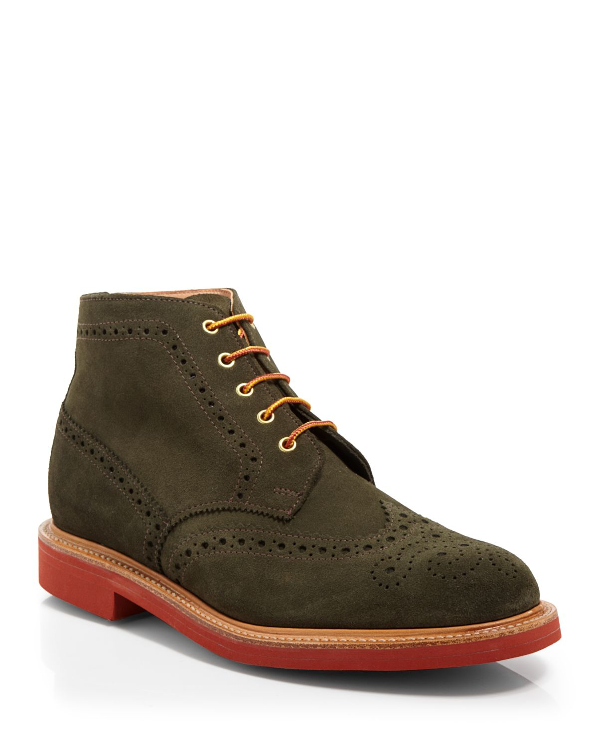 Mark Mcnairy New Amsterdam Wingtip Boots In Green For Men