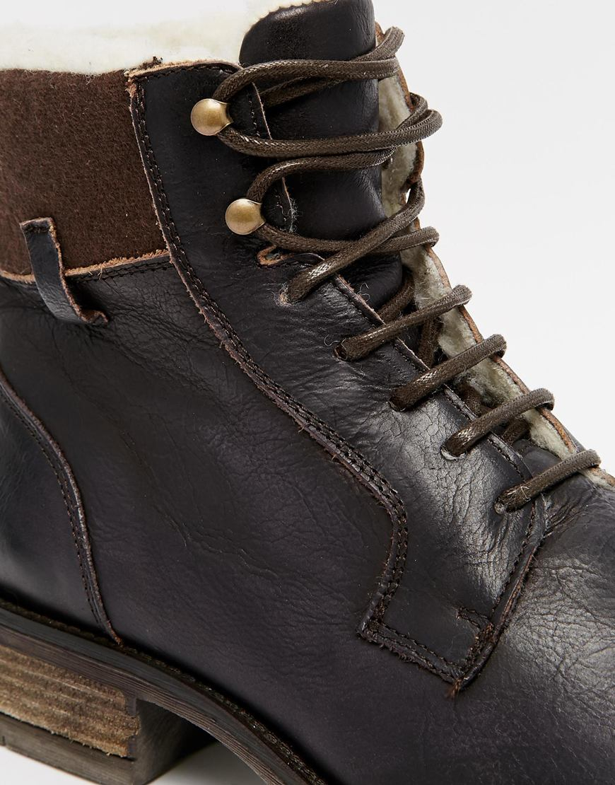 Asos Workboots With Shearling Look Lining In Brown For Men