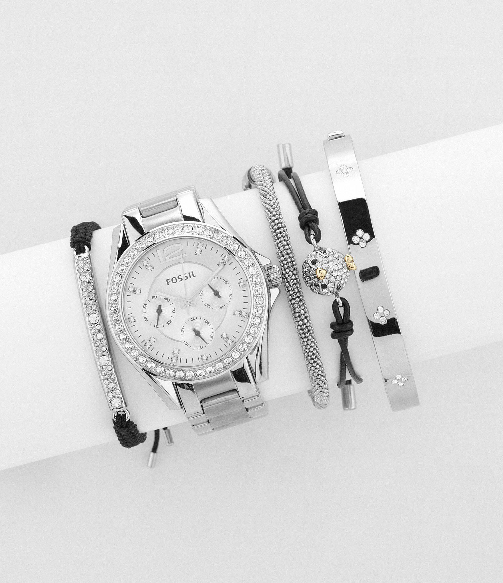 Fossil Riley Lyst Fossil Riley Silver Glitz Crystal Detail Stainless Steel