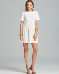 Tibi Dress Crochet Short Sleeve Flirty in White