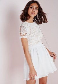 Lyst - Missguided Lace Short Sleeve Skater Dress White ...