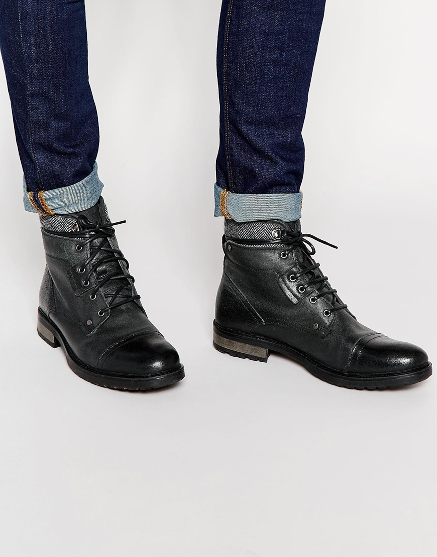 Lyst Asos Work Boots In Black Leather With Toe Cap In