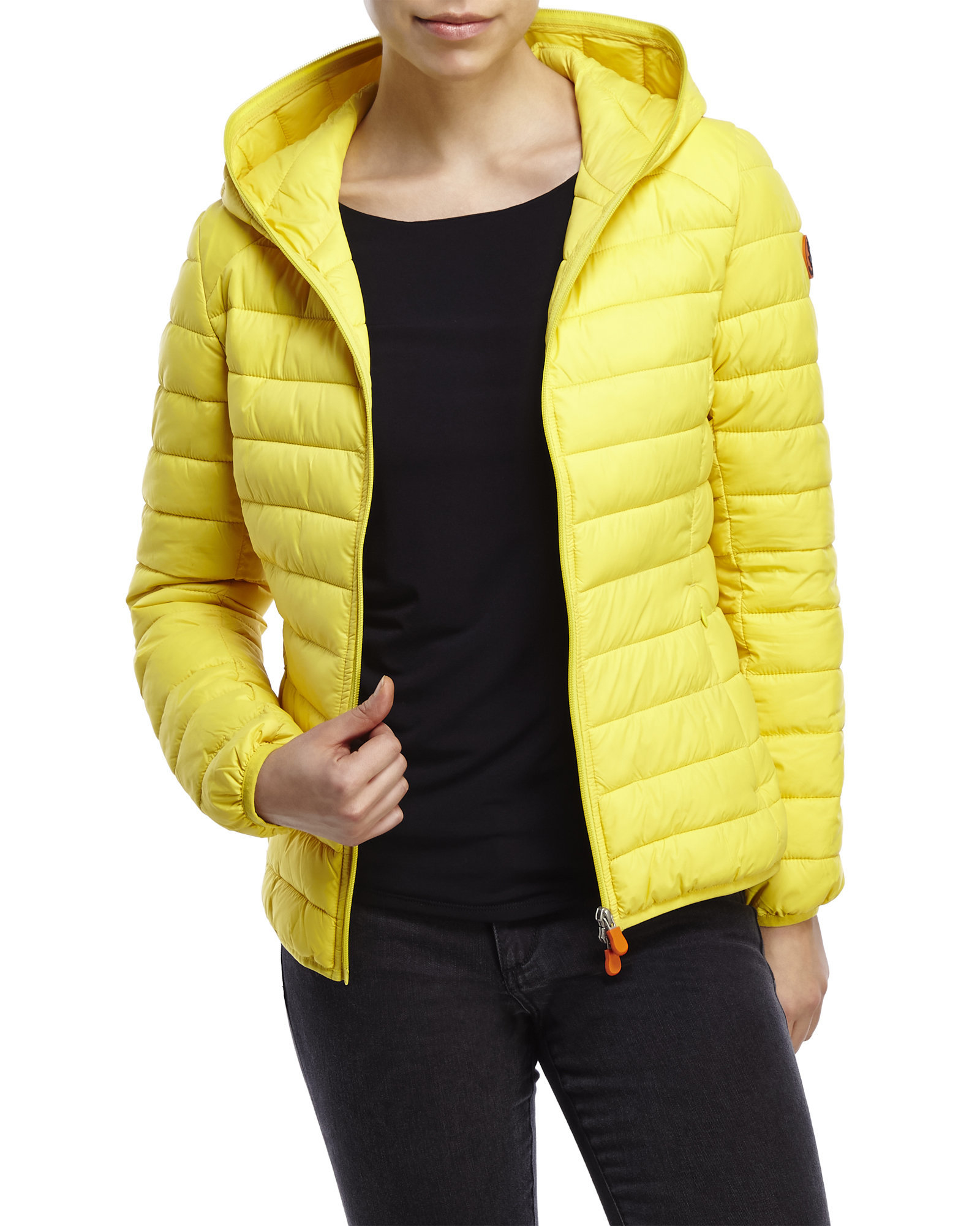 Save The Duck Packable Quilted Jacket With Hood In Yellow - Save The Duck