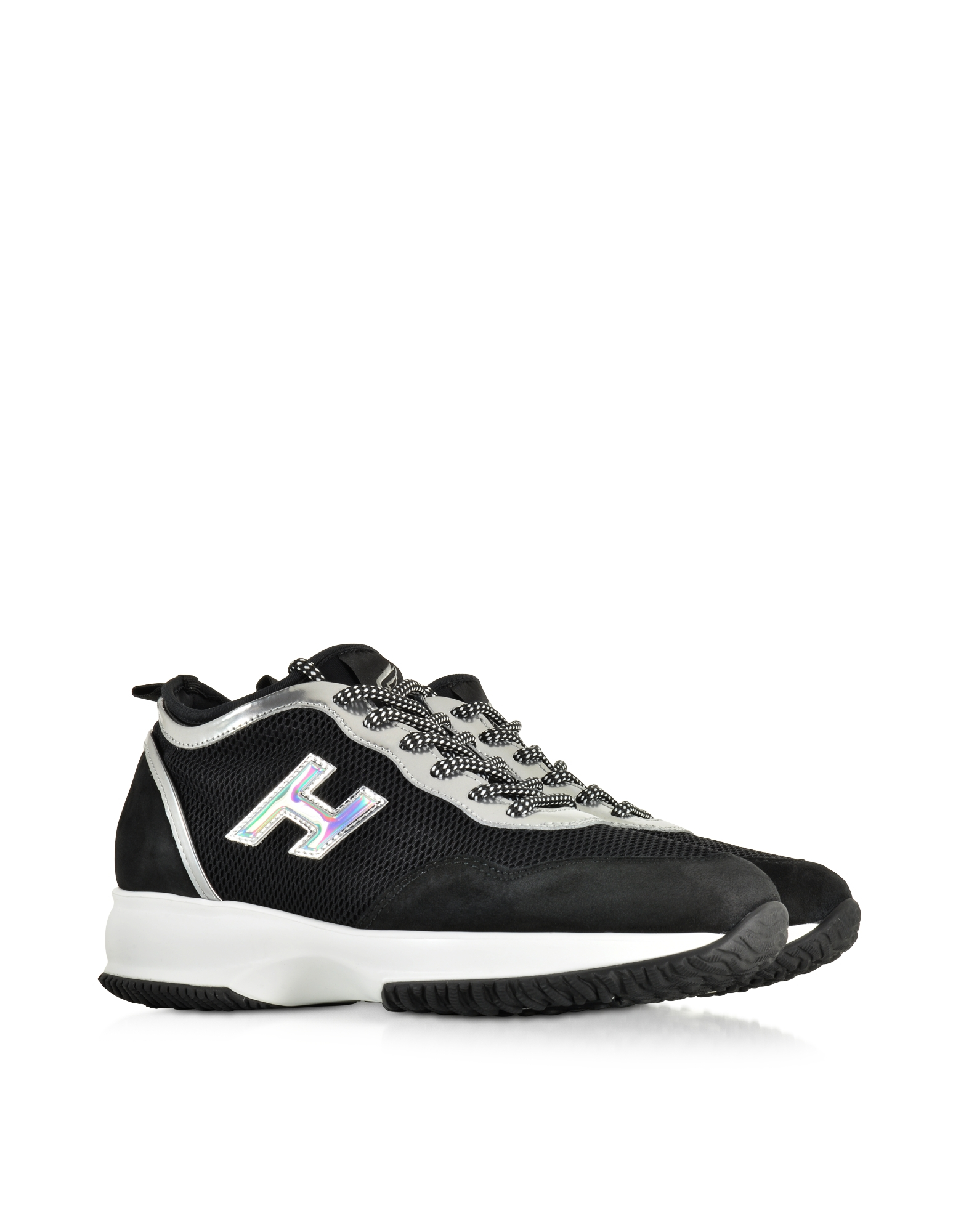 Forzieri Hogan Hogan Interactive Black Fabric And Suede Sneaker In Black