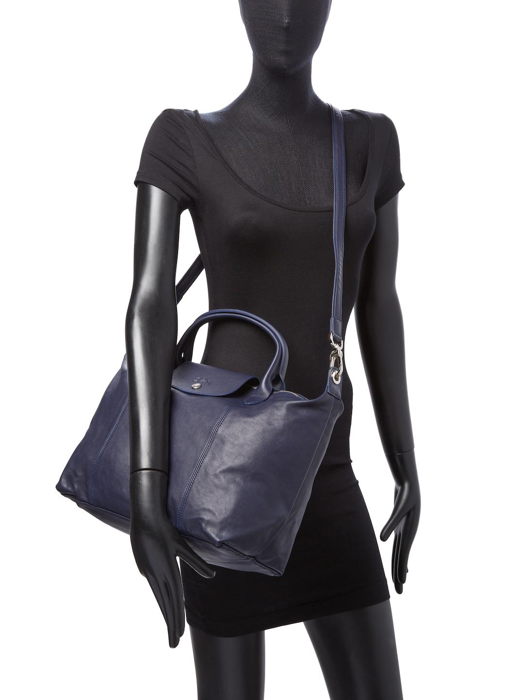 Leather Cuir Longchamp Le Pliage Cuir Leather Medium Top Handle In Blue Lyst