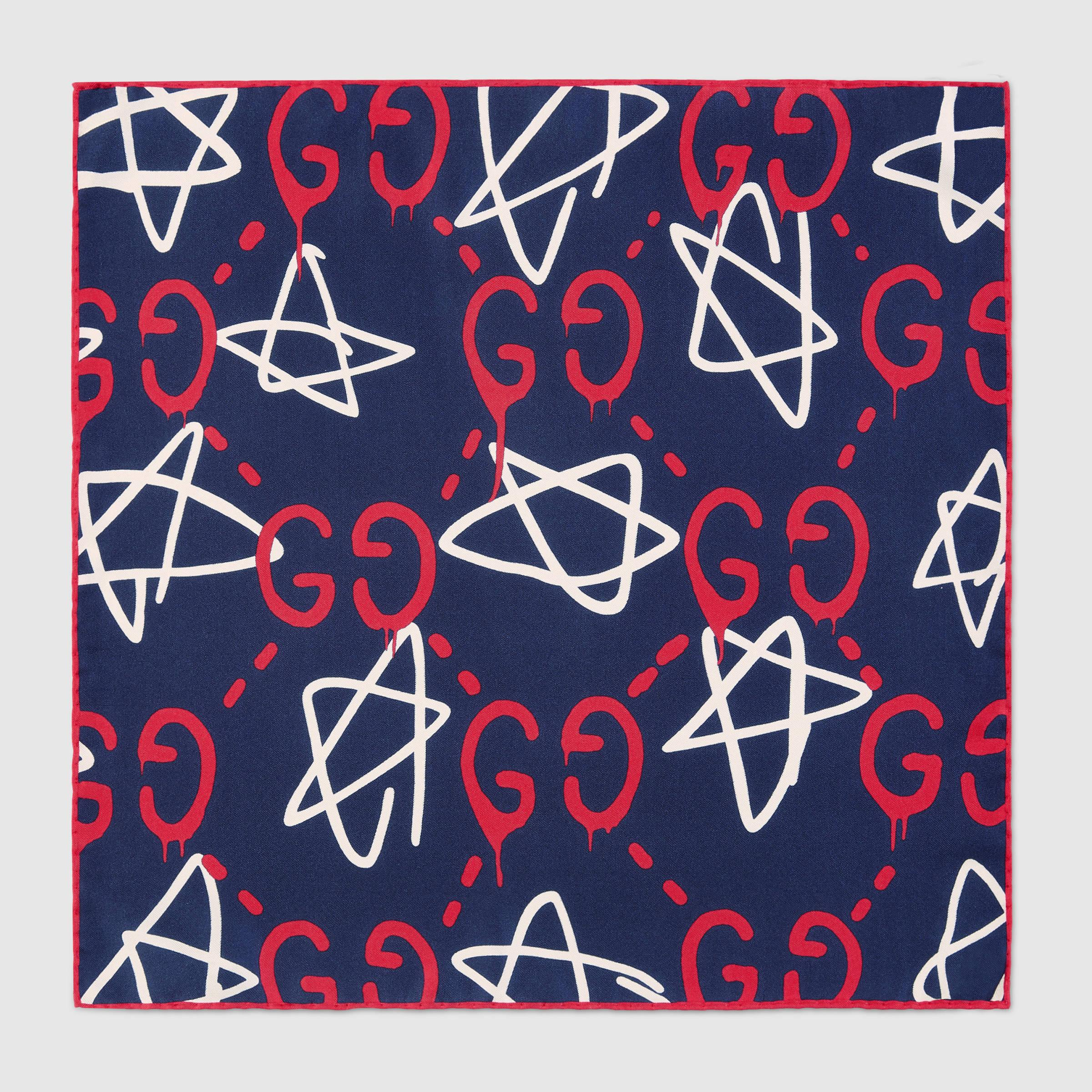 Chanel Wallpaper For Iphone 5 Lyst Gucci Ghost Silk Pocket Square In Blue For Men