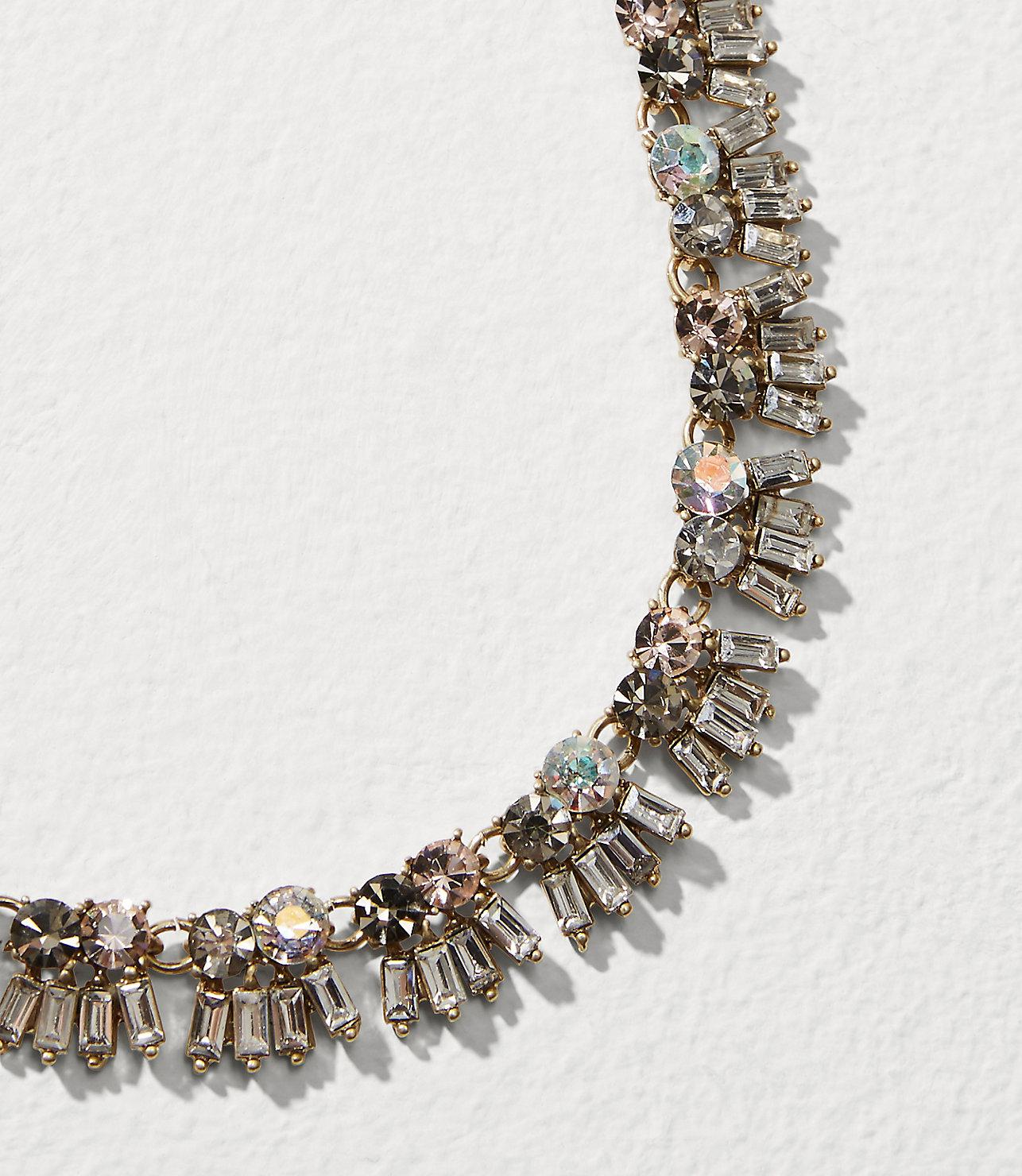 Carte Blanche Anklets Lyst Loft Mixed Crystal Necklace In Metallic