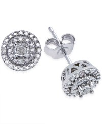 Macy's Diamond Stud Earrings (1/10 Ct. T.w.) In Sterling ...