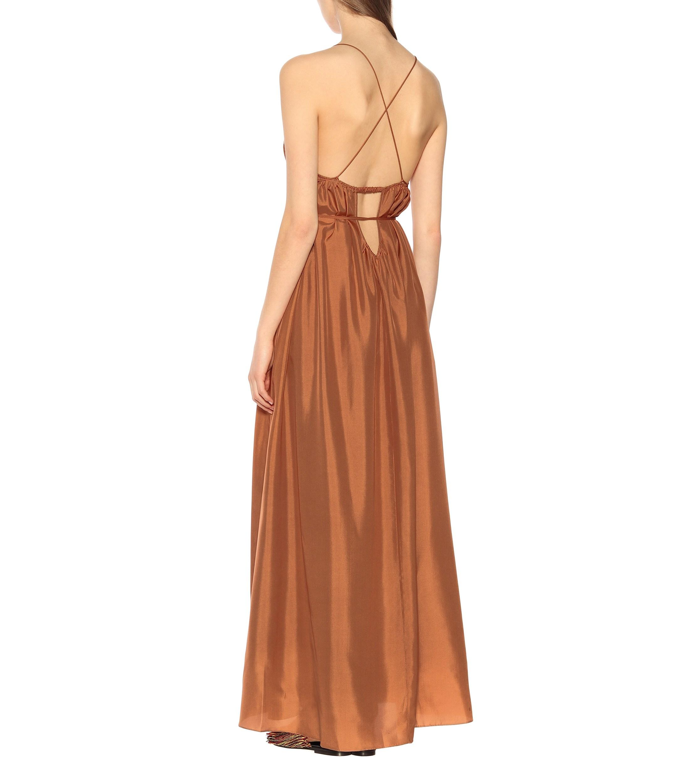 Philosophy Di Alberta Ferretti Semi Transparentes Kleid Mit Blumen Three Graces London Maxikleid Aus Seide In Orange Lyst