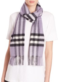 Burberry Giant Check Cashmere Scarf in Purple | Lyst