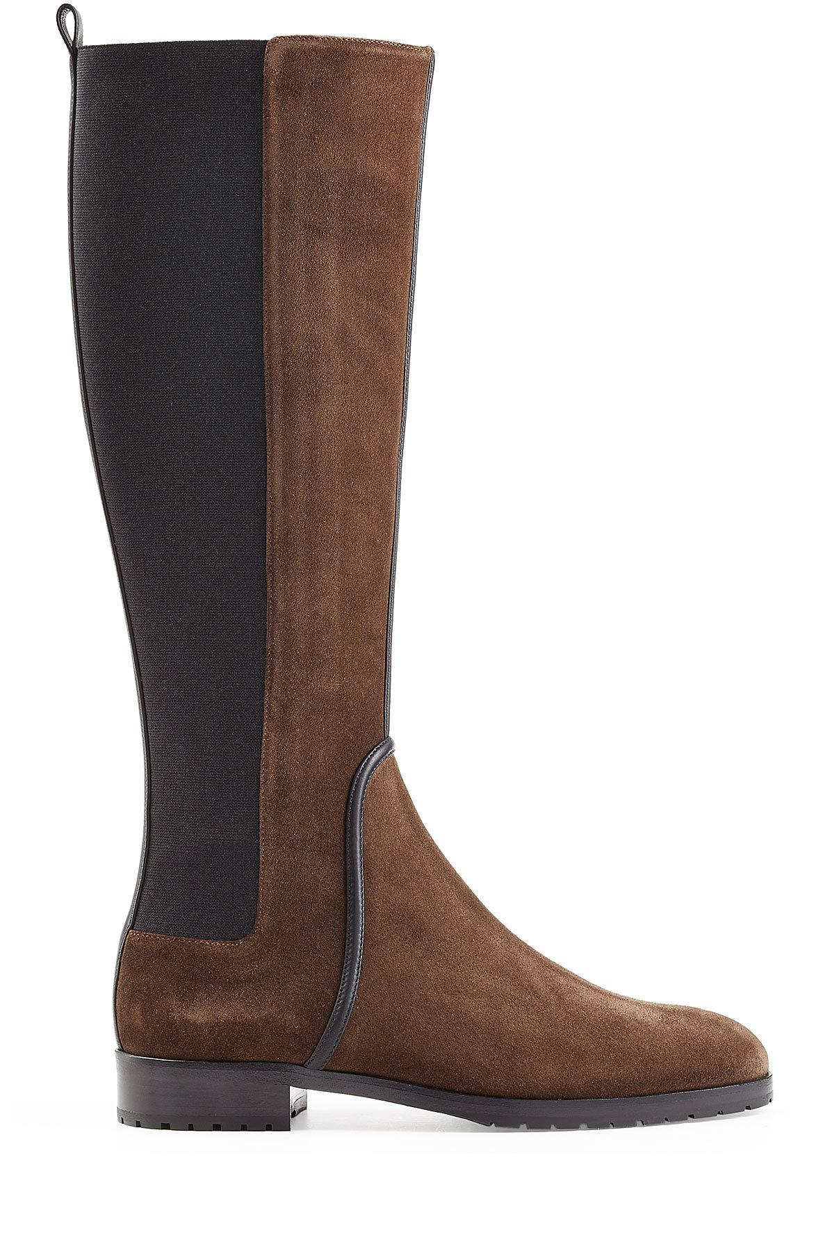 Lyst Sergio Rossi Suede Knee Boots In Brown