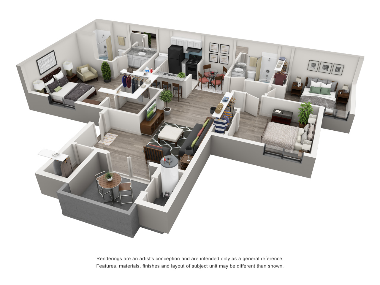 3 Bedroom Apartment Floorplan 1 2 3 Bedroom Apartments In Tucson Az Palm Canyon Apartments