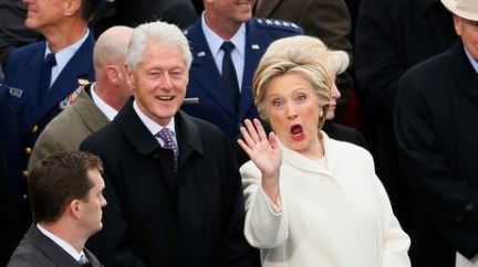 Former Secretary of State Hillary Clinton waves as she arrives with her husband former President Bill Clinton during President Trump's inauguration © Rick Wilking
