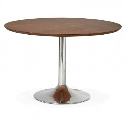 Design runden GEFLECHT aus Holz und Chrom Metall (Ø 120 cm - designer tische holz metall