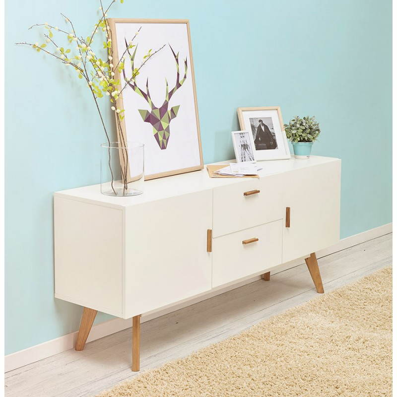 Meuble Support Tv Blanc Buffet Enfilade Design Style Scandinave 2 Portes Karl En