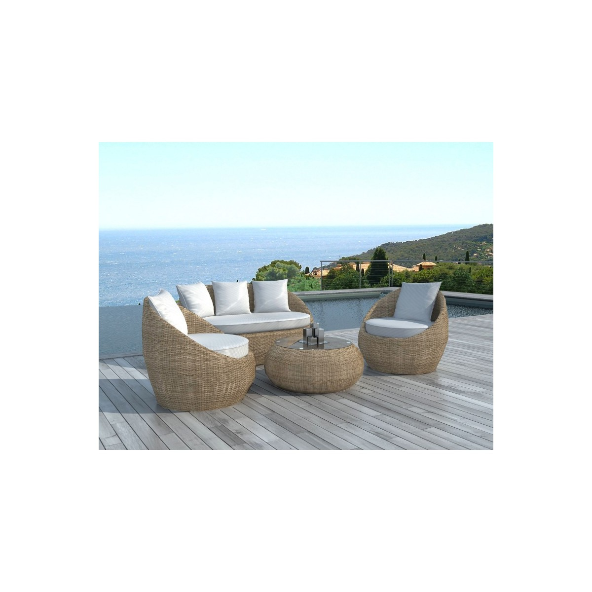 Garden Furniture 5 Places Diego Round Braided Resin Rattan Beige Amp Story 4099