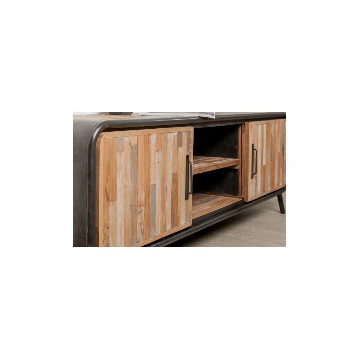 Tv Cabinet Low 2 Doors 2 Industrial Niches 150 Cm Recycled Solid Teak And Benoit Metal
