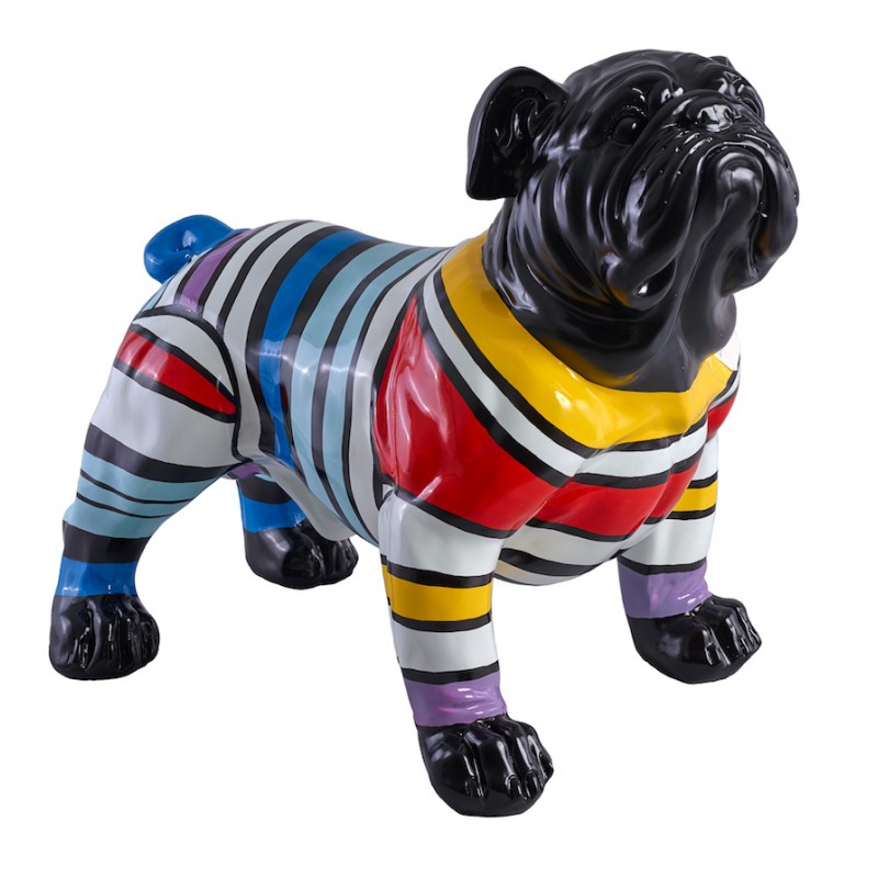 Bouledogue Decoration Design Statue Sculpture Décorative Design Chien Rayures En Résine