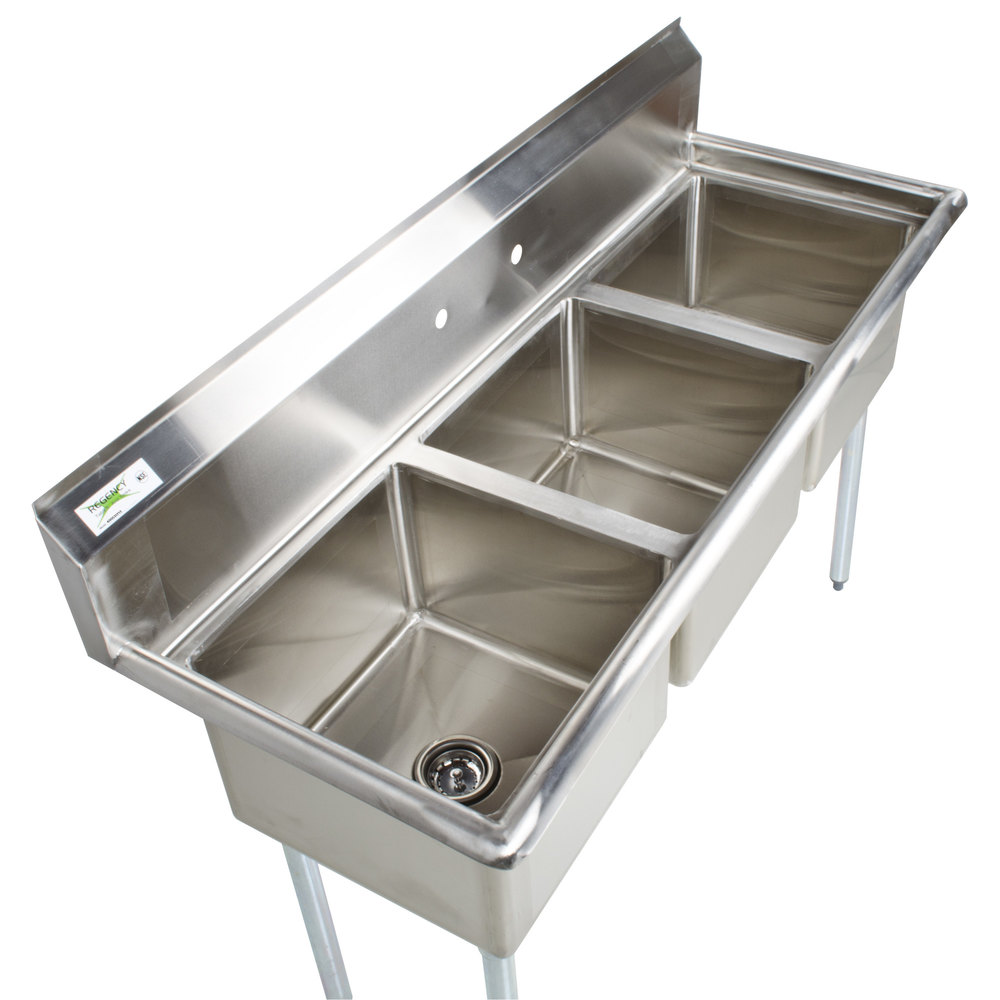 Regency 60quot 16 Gauge Stainless Steel Three Compartment