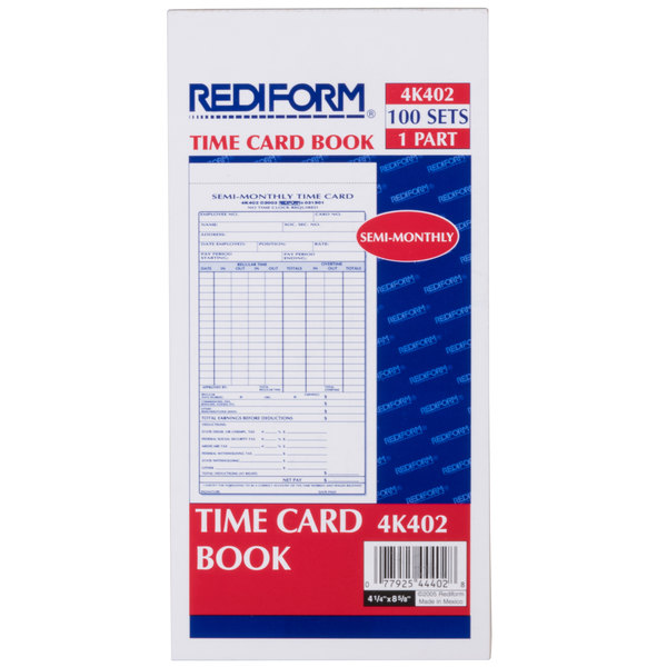 Rediform Office 4K402 Semi-Monthly Employee Time Card Book - 100