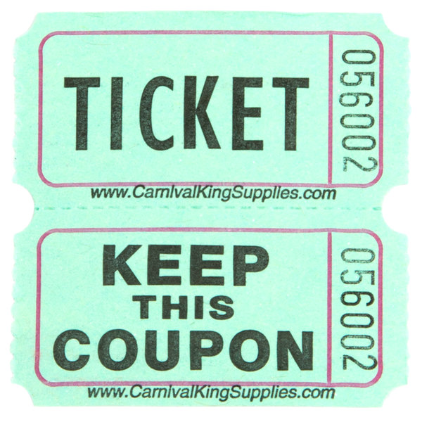 Carnival King Green 2-Part Raffle Tickets - 2000/Roll