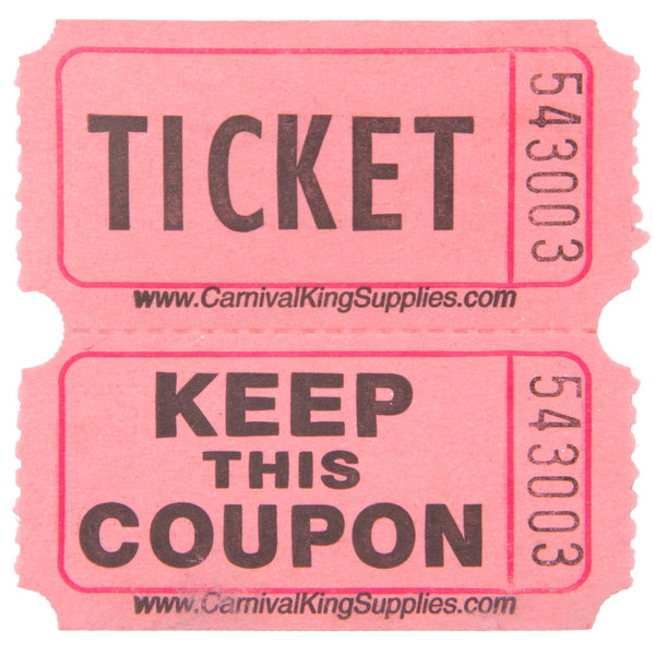 Carnival King Pink 2-Part Raffle Tickets - 2000/Roll - raffle ticket