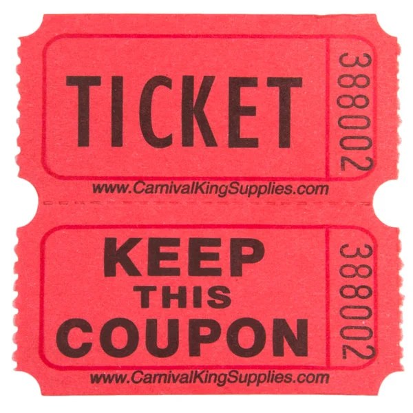 Carnival King Red 2-Part Raffle Tickets - 2000/Roll - raffle ticket