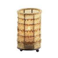 """SternoCandleLamp 80104 5"""" Gold Beaded Candle Holder Lamp"""