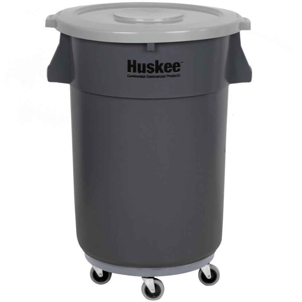 Continental 4444gy Huskee 44 Gallon Gray Trash Can Gray