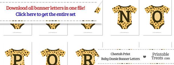 Cheetah Print Baby Onesie Shaped Banner Letters Download \u2014 Printable