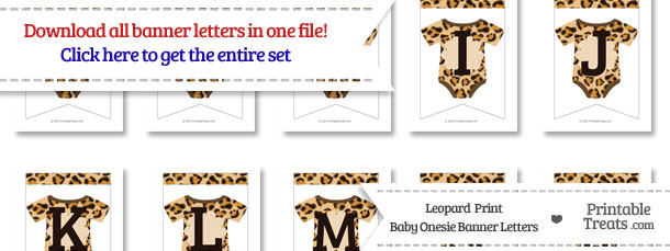 Leopard Print Baby Onesie Bunting Banner Letters Download