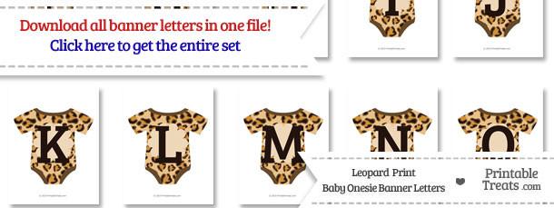 Leopard Print Baby Onesie Shaped Banner Letters Download \u2014 Printable