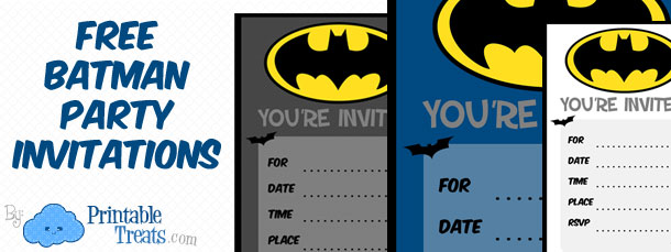Batman Birthday Invitations to Print \u2014 Printable Treats - free templates for invitations birthday