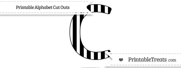 Free Black Striped Extra Large Capital Letter C Cut Outs \u2014 Printable