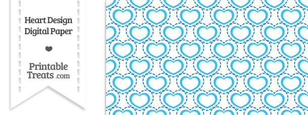 Blue Heart Design Digital Scrapbook Paper \u2014 Printable Treats