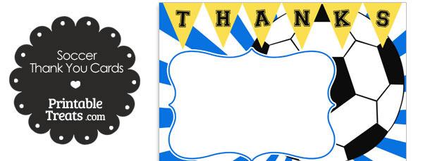 Blue Sunburst Soccer Thank You Cards \u2014 Printable Treats