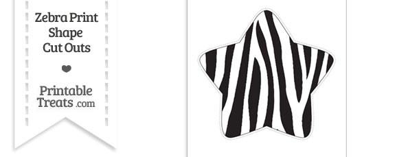 Extra Large Zebra Print Star Cut Out \u2014 Printable Treats