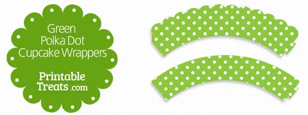 Green Polka Dot Cupcake Wrappers \u2014 Printable Treats