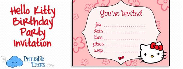 Hello Kitty Birthday Party Invitations for Kids \u2014 Printable Treats