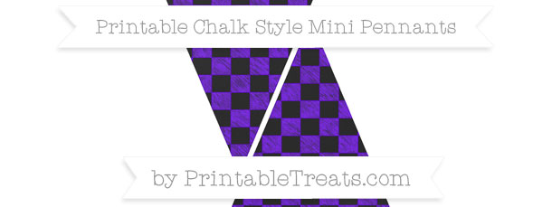 Indigo Checker Pattern Chalk Style Mini Pennants \u2014 Printable Treats