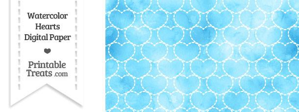 Light Blue Watercolor Hearts Digital Scrapbook Paper \u2014 Printable