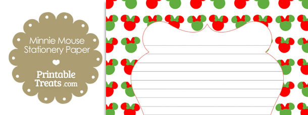 minnie mouse christmas stationery paper printable treatscom saveenlarge