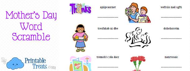Mother\u0027s Day Word Scramble \u2014 Printable Treats