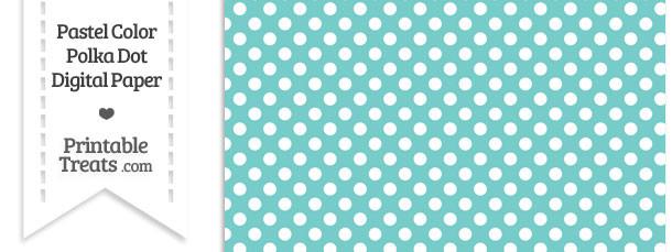 Pastel Blue Green Polka Dot Digital Scrapbook Paper \u2014 Printable